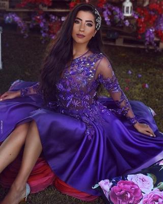 Vestidos de Fiesta Elegantes A-Linea Cuello redondo | Mangas largas apliques cortos vestidos de cóctel_3