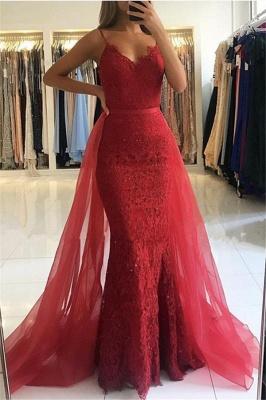 Correas de espagueti rojas de la envoltura | vestidos de noche 2019 De Encaje Sexy Sobre La Falda_1