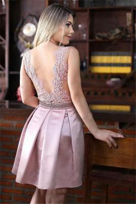 Pink Sheer Tulle Quinceanera Dama Dresses Cheap | Sleeveless Beaded Appliques Short Dama Dress_3