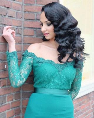 Verde Fuera de hombro mangas largas vestidos de noche en línea | Vestido de noche de encaje sirena barata_3