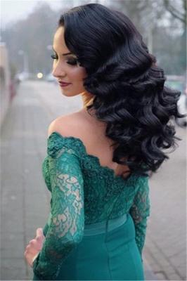 Verde Fuera de hombro mangas largas vestidos de noche en línea | Vestido de noche de encaje sirena barata_4