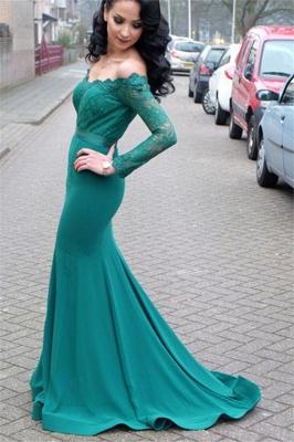 Verde Fuera de hombro mangas largas vestidos de noche en línea | Vestido de noche de encaje sirena barata_1