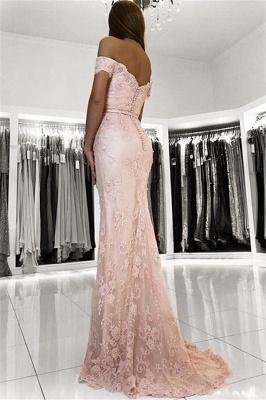 2019 Rosado Fuera de hombro sirena vestidos de baile | Encaje barato con cuentas vestidos de noche en línea_3