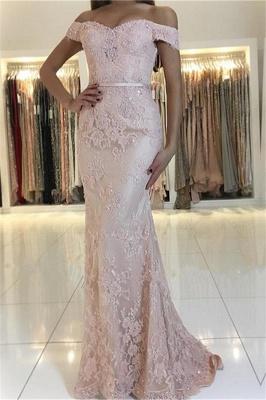 2019 Rosado Fuera de hombro sirena vestidos de baile | Encaje barato con cuentas vestidos de noche en línea_1