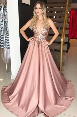 Pink Plunging V-neck Sleeveless Formal Dresses Long | Alluring Sequins Banquet Dresses_1