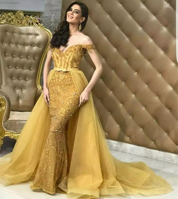 Gold Off Shoulder Mermaid Alluring Formal Dresses | Overskirt Lace Tulle Affordable Cheap Evening Dresses Online_3