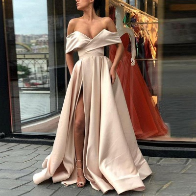 Off The Shoulder Alluring Formal Dresses | Stretch Satin Split Long Formal Dresses Affordable BC0775_3