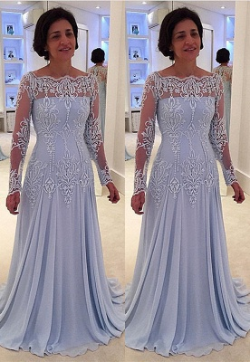 Elegant A-line Lace Long-Sleeve Quinceanera Mother Dress_1