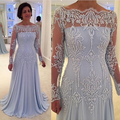 Elegant A-line Lace Long-Sleeve Quinceanera Mother Dress_2