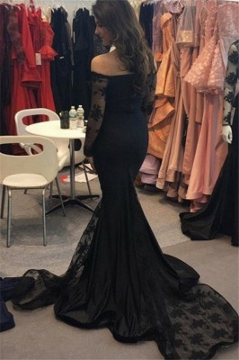 Timeless Black Long Sleeves Formal Dresses Affordable | Glamorous Off the Shoulder Lace Formal Dresses_3