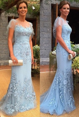 Sheath-Column Cap-Sleeves Sweep-Train Appliques Quinceanera Mother Dress_2