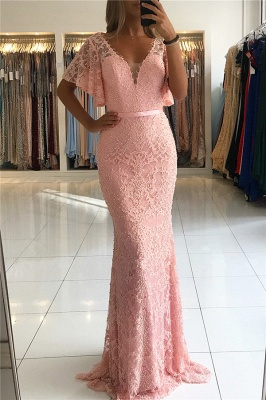 Open Back Pink Lace Formal Dresses with Short Sleeves | Fully-covered Beads Affordable Banquet Dresses Alluring_1