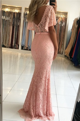 Open Back Pink Lace Formal Dresses with Short Sleeves | Fully-covered Beads Affordable Banquet Dresses Alluring_3