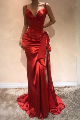 Gorgeous Red Straps Formal Dresses | Ruffles Side Slit Sleeveless Banquet Dresses_1