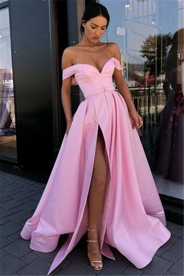Vestidos de noche sexy rosa fuera del hombro 2019 | A-Linea División delantera vestidos formales largos en línea_3