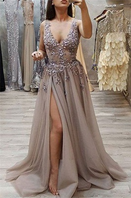 Alluring Sexy V-Neck Sleeveless Banquet Dresses | Affordable Lace Split Long Formal Dresses BC0483_1