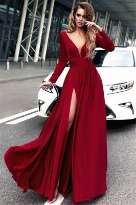 Long Sleeve Burgundy Evening Dress with Side Slit | Sexy V-Neck Open Back Alluring Formal Party Dress Affordable_1