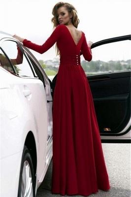 Long Sleeve Burgundy Evening Dress with Side Slit | Sexy V-Neck Open Back Alluring Formal Party Dress Affordable_3
