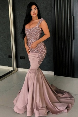 Alluring Pink Mermaid Evening Dress | Straps Appliques Long Formal Dresses_1