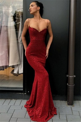 Alluring Simple Sheath Sequins Long Formal Dresses | Affordable Spaghetti Straps Formal Dresses BC0920_1